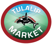 Logo for the Tulalip Market website including the Tulalip Tribes whale