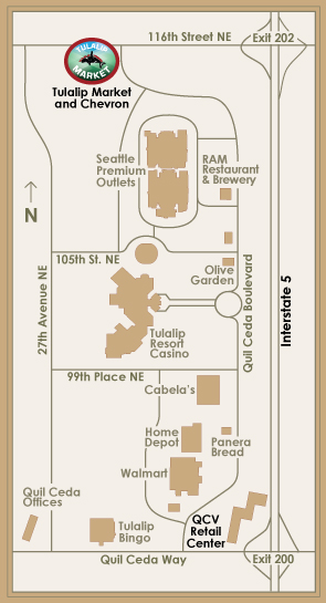 A map of local streets around Tulalip Market, just off I-5 on 116th Street NE, Exit 202
